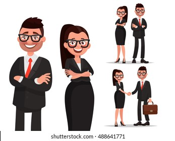 Set of characters business couple. Handshake and cooperation. Man and woman dressed in business suits. Businessman and businesswoman