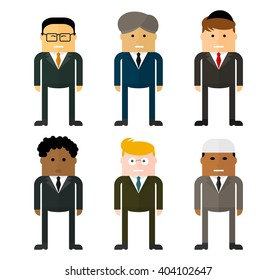 Set of characters of businessmen from different countries. Multinational team.Team work concept. Conceptual image of a businessman character.Cartoon flat vector illustration. Objects isolated.
