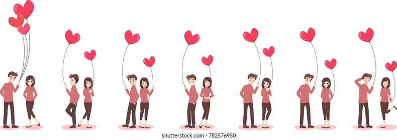 Set of characters cartoon cute couple of lover for valentine's day, holidays of love flat decorative elements with young women and men, romance, hearts, heart balloons of love,vector illustration