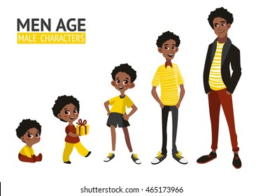 Set of characters in cartoon flat style. Male characters, the cycle of life, stages of growing up from baby to man.
