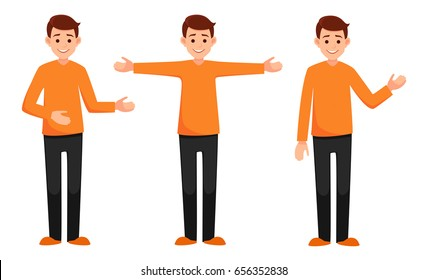 set of characters with different hand positions.collection of boys in various poses: wide-open arms, welcoming posture, demonstrates something. vector illustration with isolated objects.