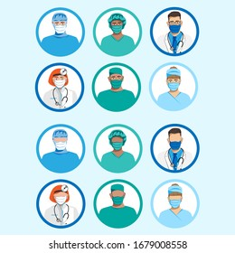 Set of characters of doctors in medical masks. Quarantine. Vector illustration.