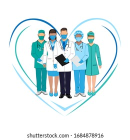 Set of characters of doctors in overalls. Thanks to the doctors. Stop the epidemic. Vector illustration on a white background.