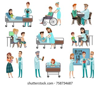 Set of characters doctors and patients during examination, discussion x-ray, hospital treatment isolated vector illustration