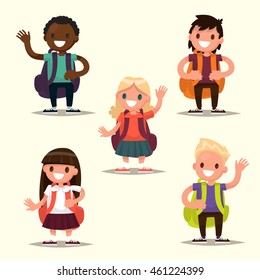 Set of characters elementary school students. Schoolboys and schoolgirls of different nationalities. Vector illustration of a flat design