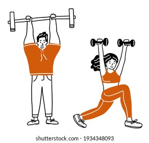 The set of characters exercises in the gym of athletes. Collection of hand drawn. Vector illustration in sketch doodle style.