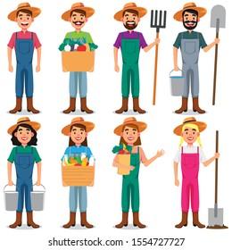 Set Characters Farmer Cartoon Vector