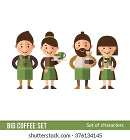 A set of characters in a flat style. Barista and waiters.