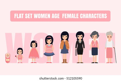 Set characters in a flat style. the cycle of life, growing up female. From infant to grandmother.