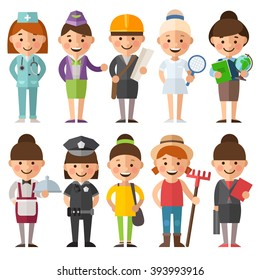 Set of characters in a flat style. Female characters in different roles. Women's profession. Doctor, engineer, athlete, teacher, waitress, police, farmers and other female characters.