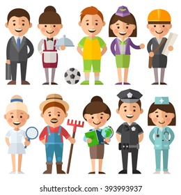 Set of characters in a flat style. Female and male characters in different roles. Women's and mans profession. Doctor, engineer, athlete, teacher, waitress, police, farmers and other characters.