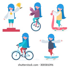 Set of characters in flat style. A girl with blue hair riding a bicycle, an unicycle, a scooter, skateboarding and winning a prize