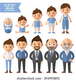 Set of characters in a flat style. Men characters, the cycle of life, growing up male. From infant to grandfather.