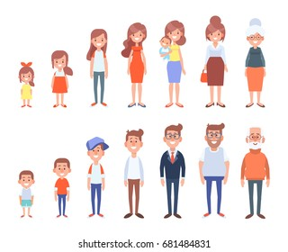 Set of characters in a flat style. Men and women characters, the cycle of life, growing up.