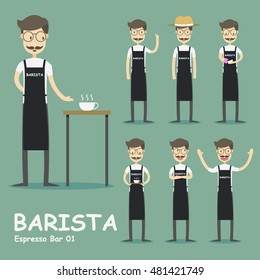 Set of characters in a flat style.Barista, waiter, cafe manager, hipster, cafes Visitors.