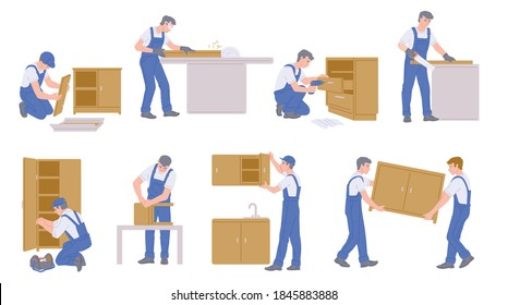 Set of characters furniture makers making assembling, repairs or constructions of wood home furniture. Carpenter working in his workshop. Flat cartoon isolated vector illustrations