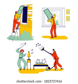 Set of Characters Installing Net for Protection of Mosquito at Summer Period. Workers Installing Net on Window, Family Couple Fighting with Insects at Night Time. Linear People Vector Illustration