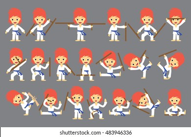 A set of characters a karate fighter holding a weapon. game assets, vector illustration.
