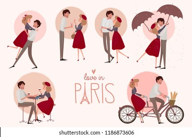 Set of characters. Love story in Paris with a lover couple in different poses. Editable vector illustration