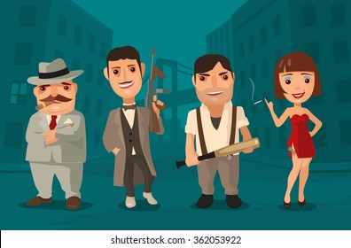Set of characters Mafia. Don, capo, soldier, prostitute. Vector flat illustration on background of city streets. Hand drawn design element for label and poster