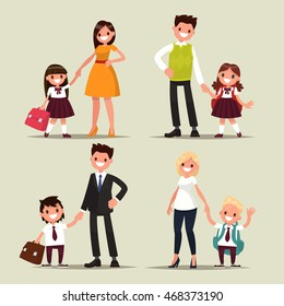 Set of characters. Parents and children are students together. Back to school. Vector illustration of a flat design