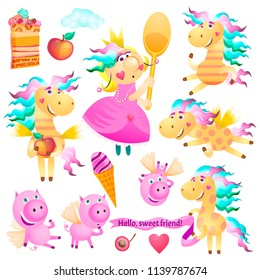 Set of characters Pegasus, Pony, Horse, Princess, Fairy, Piglets, Fruits, Apple, Ice Cream, Cake, Dessert, Cloud. Use for your design. Colorful hand drawn vector stock illustration.