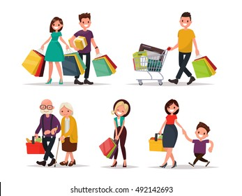 Set of characters and people shopping. Vector illustration of a flat design