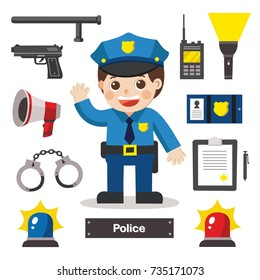 Set of characters of Police officer with police professional equipments. Police Icon.
