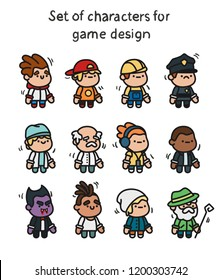 A set of characters ready for animation. Character for mobile applications and game design.