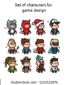 Eine Reihe von Zeichen, die für die Animation bereit sind. Charakteristisch für mobile Anwendungen und Spieledesign.