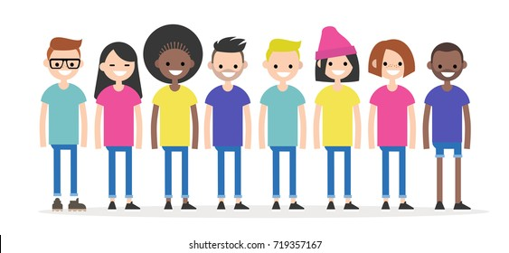 Set of characters wearing colorful t-shirts. Diversity conceptual illustration. Multiracial group of young people. Flat editable characters, clip art