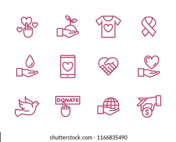 Set of charity line icons. Simple pictograms design. Separated vector illustration on a white background. Modern outline style icons collection.