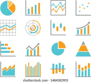 Set of  chart for report icon. Flat icons vector illustration