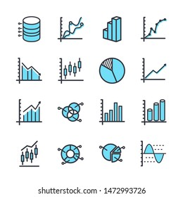 Set of Charts and Diagrams icon template color editable. Dot Plot, 3D Chart, Trend and more symbol vector sign isolated on white background vector illustration for graphic and web design.