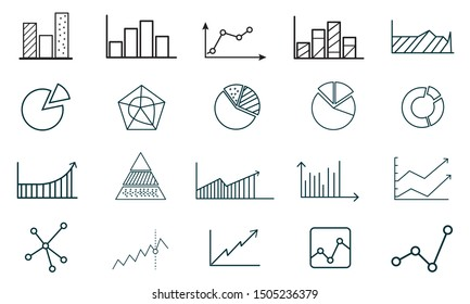 Set of Charts and Diagrams icon template.Trend and more symbol vector sign isolated on white background vector illustration for graphic and web design.