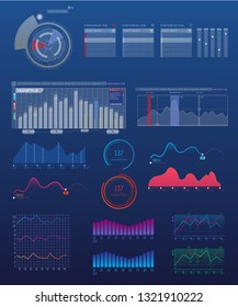 Set of charts, infographics elements.  Network management data screen with charts and radial diagrams.  Interface screen with colored infographic illustration. Vector Illustration.