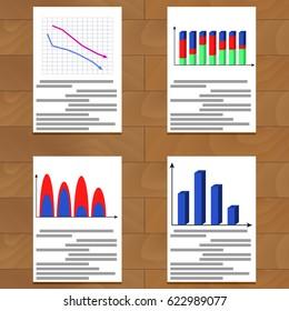 Set of charts. Statistics growth economy data, and report analytics, vector illustration