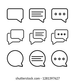 Set of Chat Bubble Line Icons.Line chat icons for flat design. Talk baloon icons isolated. Chat speech bubble icons. - ภาพประกอบ
