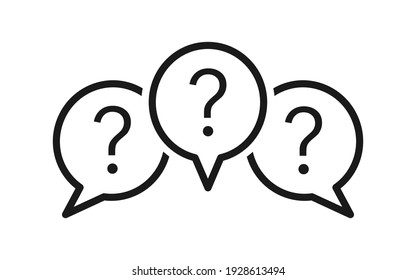 Set of chat icons. Speech message bubbles with question marks. Forum icons. Communication concept. Design for web and apps.