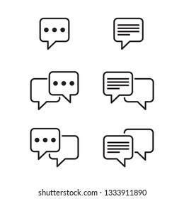 Set of chat and speech bubble line Icons. Vector illustration on white background
