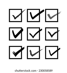 A set of check boxes. Vector illustration of check box. Symbol of check box.Icon of check box. Mark of check box. Checklist and check box.