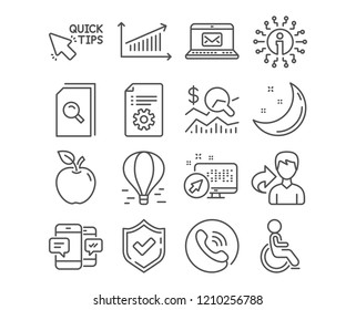 Set of Check investment, Search files and Quick tips icons. Chart, Disabled and Smartphone sms signs. Technical documentation, E-mail and Air balloon symbols. Check investment vector