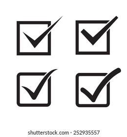 Set of check mark, check box icons.
