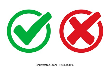 Set check mark and cross in circle - stock vector