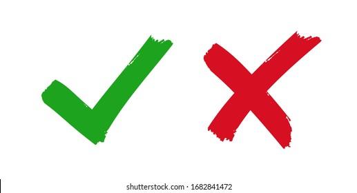 Markierungszeichen und Kreuz festlegen. Vektorgrafik