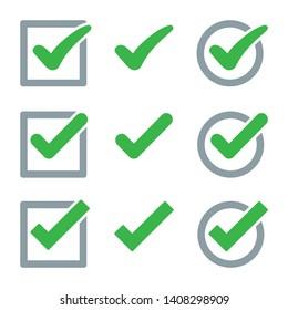 Set of check mark icon. Vector illustration