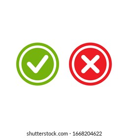 Set of check mark icons. green rounded tick in circle and red cross in circle. Flat cartoon style. Vector illustration.  Flat yes and no buttons.