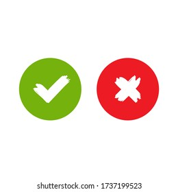 Set of check mark icons. green hand drawn tick and red cross. Flat cartoon style. Vector illustration. Flat yes and no buttons. Validation, confirmation, answer buttons.
