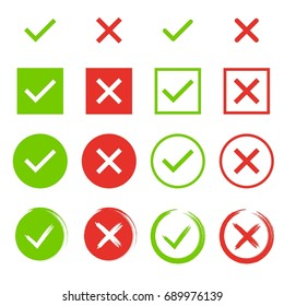 Set of check marks. Green tick, red cross. YES or NO accept and decline symbol. Buttons for vote, election choice. Empty, square frame, circle and brush. Check mark OK and X icon. Vector illustration