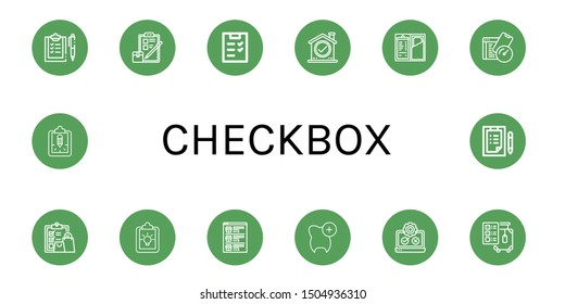 Set of checkbox icons such as Checklist, Check, Test, Clipboard, List, Testing, Check out , checkbox